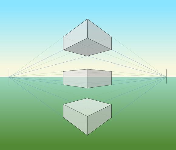 Параллелепипеды в угловой перспективе по отношению к линии горизонта