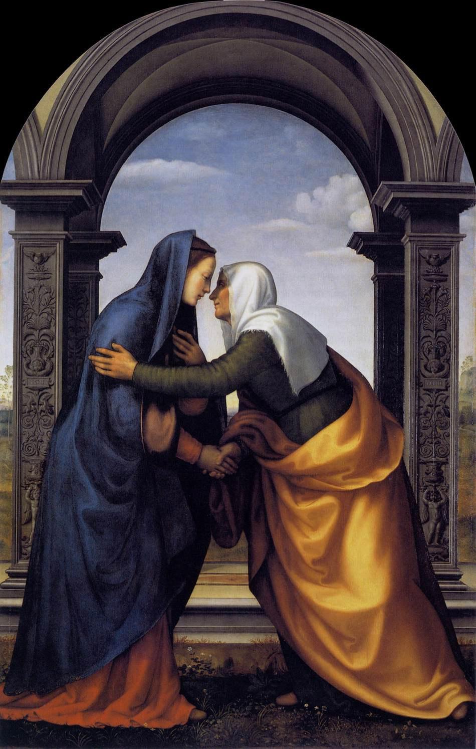 Встреча Марии и Елизаветы. Мариотто Альбертинелли, 1503. Масло