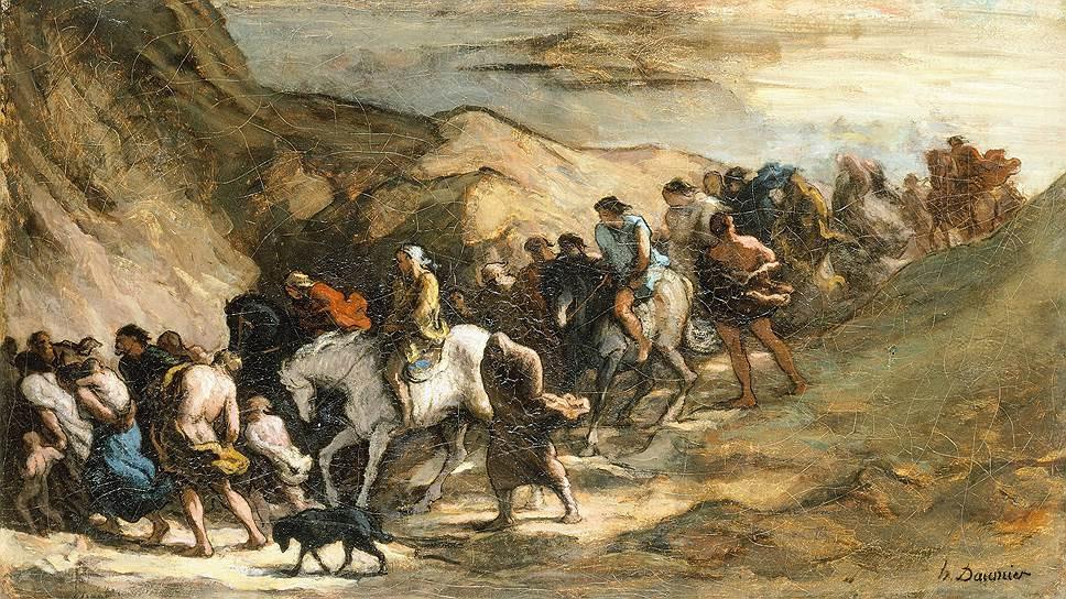 Беженцы. О. Домье, 1850. Масло