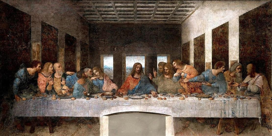 Тайная вечеря. Леонардо да Винчи, 1495—1498. Фреска