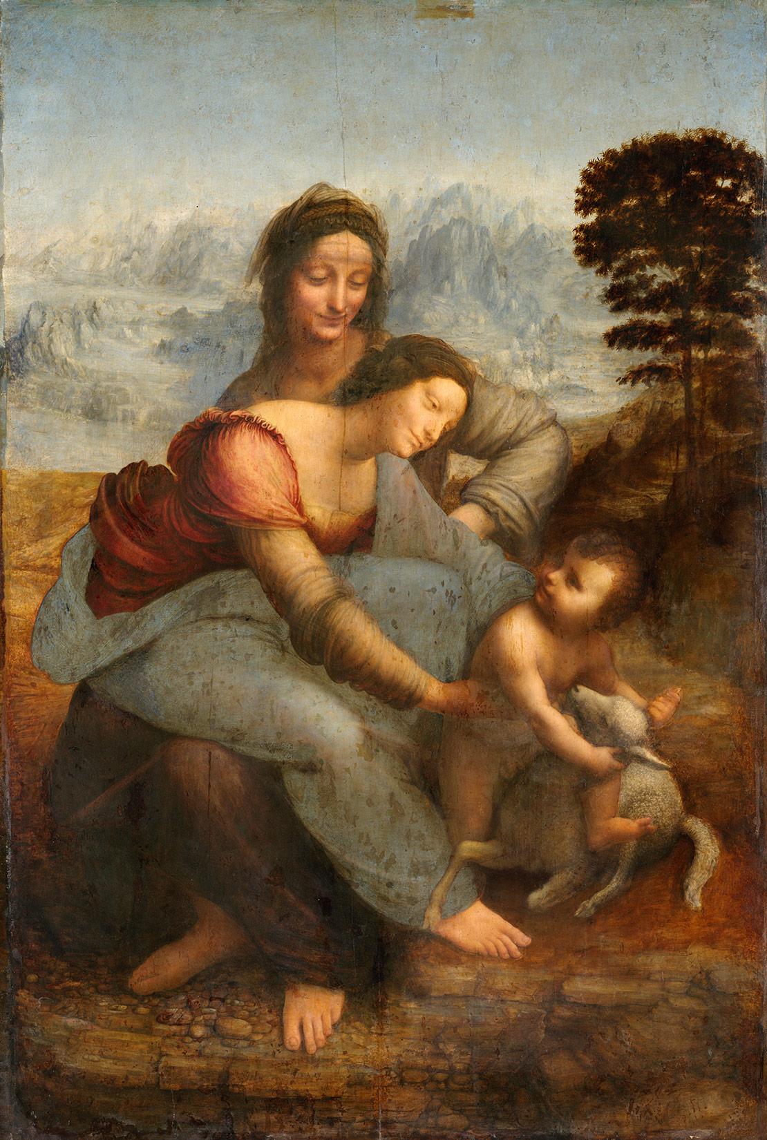 Анна, Мария и младенец Христос. Леонардо да Винчи, 1503