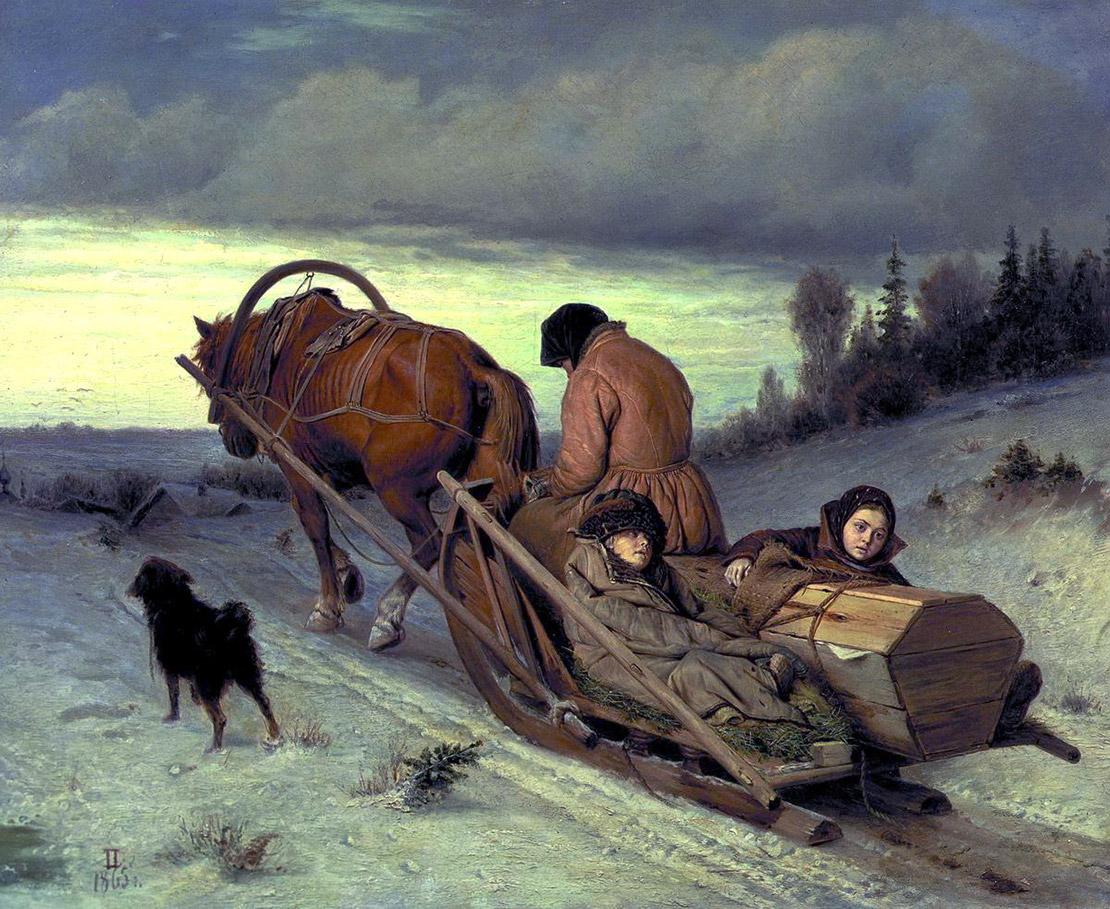 Проводы покойника. В. Перов, 1865. Масло