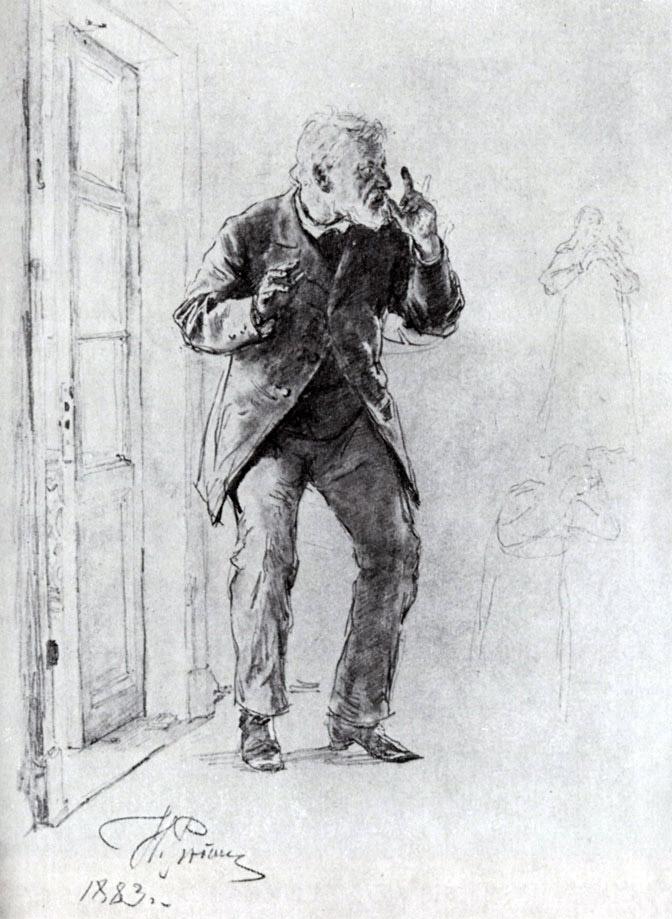 Не ждали. И. Репин, 1883. Карандаш