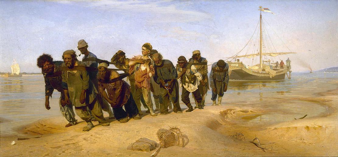 Бурлаки на Волге. И. Репин, 1872—1873. Масло