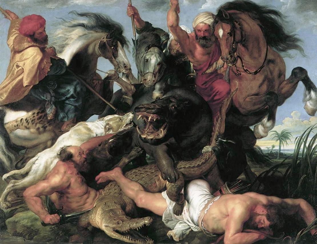 Охота на гиппопотама. Питер Пауль Рубенс, 1616. Масло