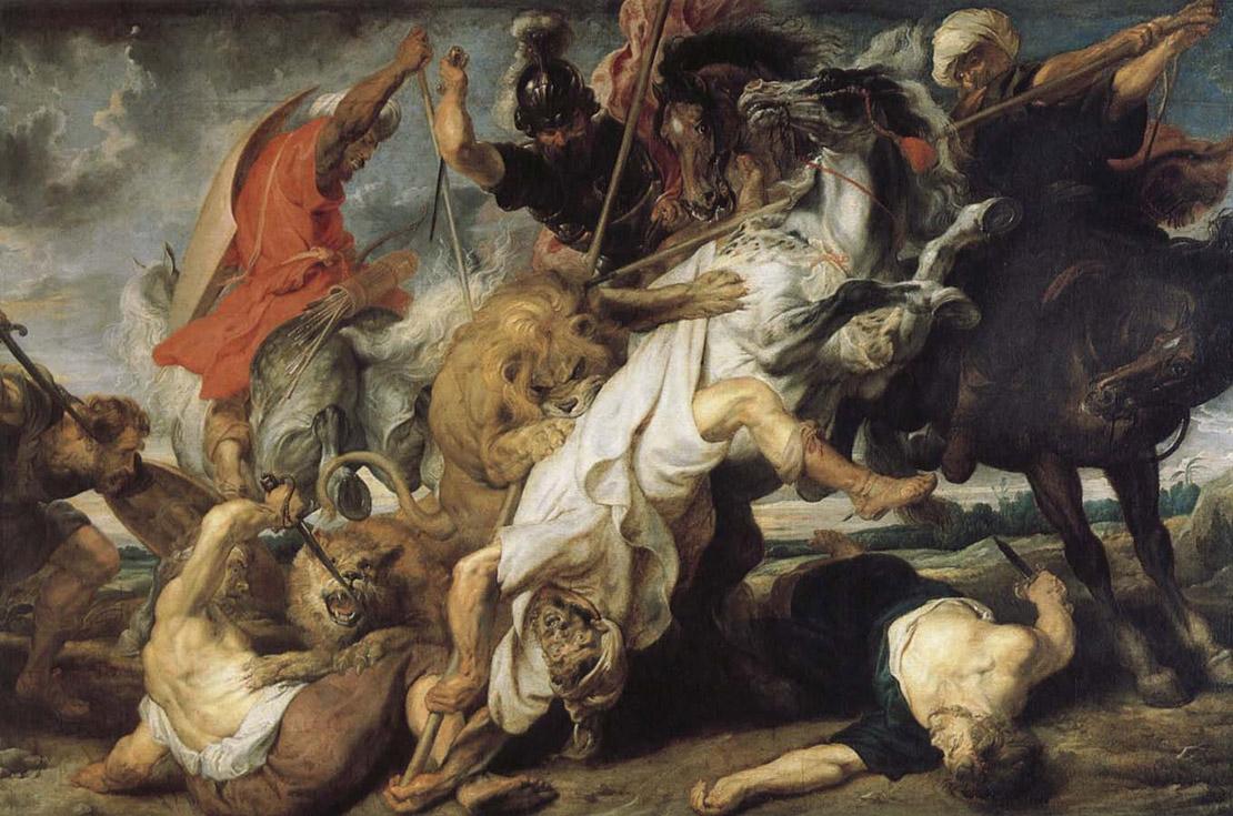 Охота на львов. Питер Пауль Рубенс, 1621. Масло