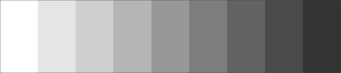 Тональная шкала - 9 оттенков серого