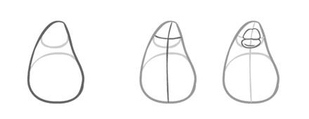 Как нарисовать пингвина. Шаг 1. Рисуем основные формы