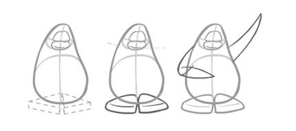 Как нарисовать пингвина. Шаг 2. Рисуем ноги и крылья