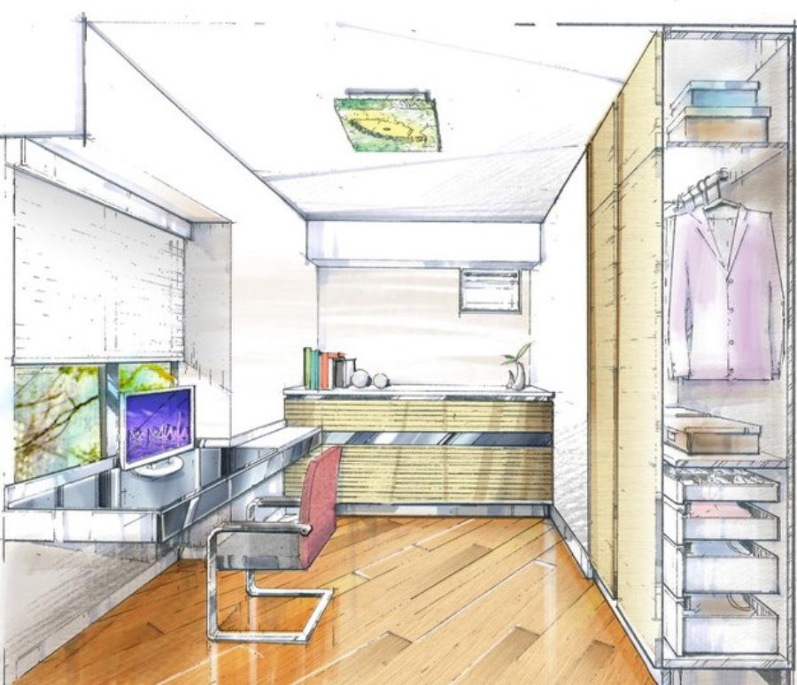 Комната в перспективе с мебелью рисунок