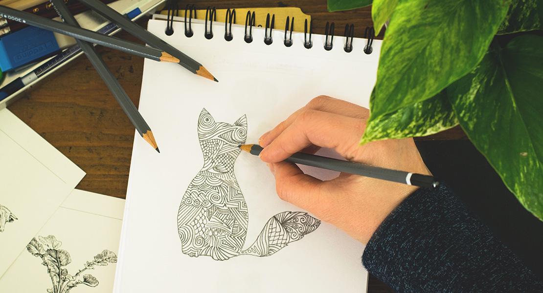 Кот, нарисованный карандашом