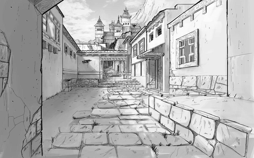 Город в перспективе рисунок