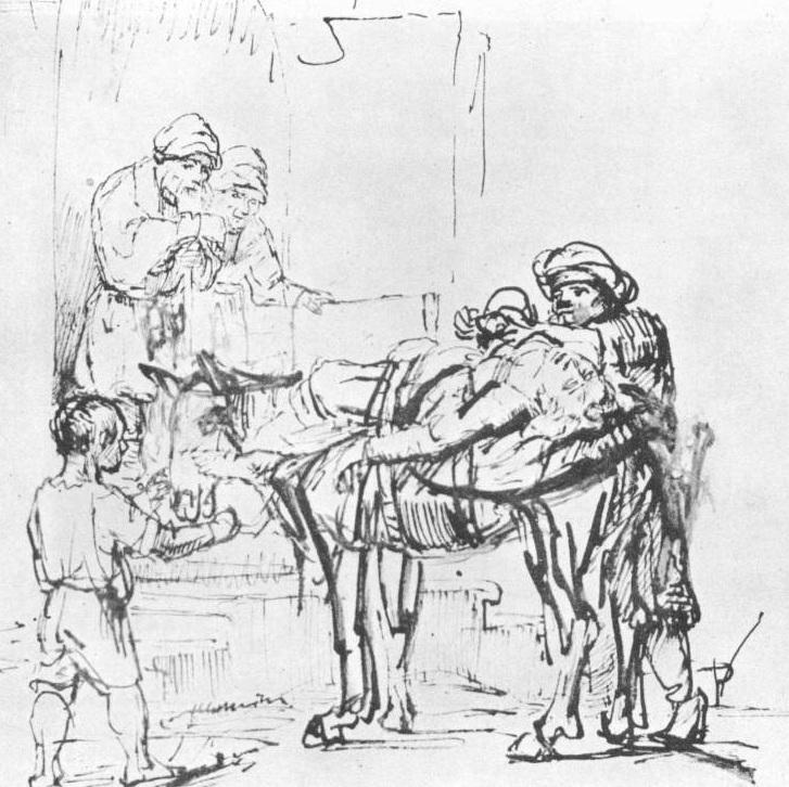 Добрый самарянин. Рембрандт, около 1641, рисунок