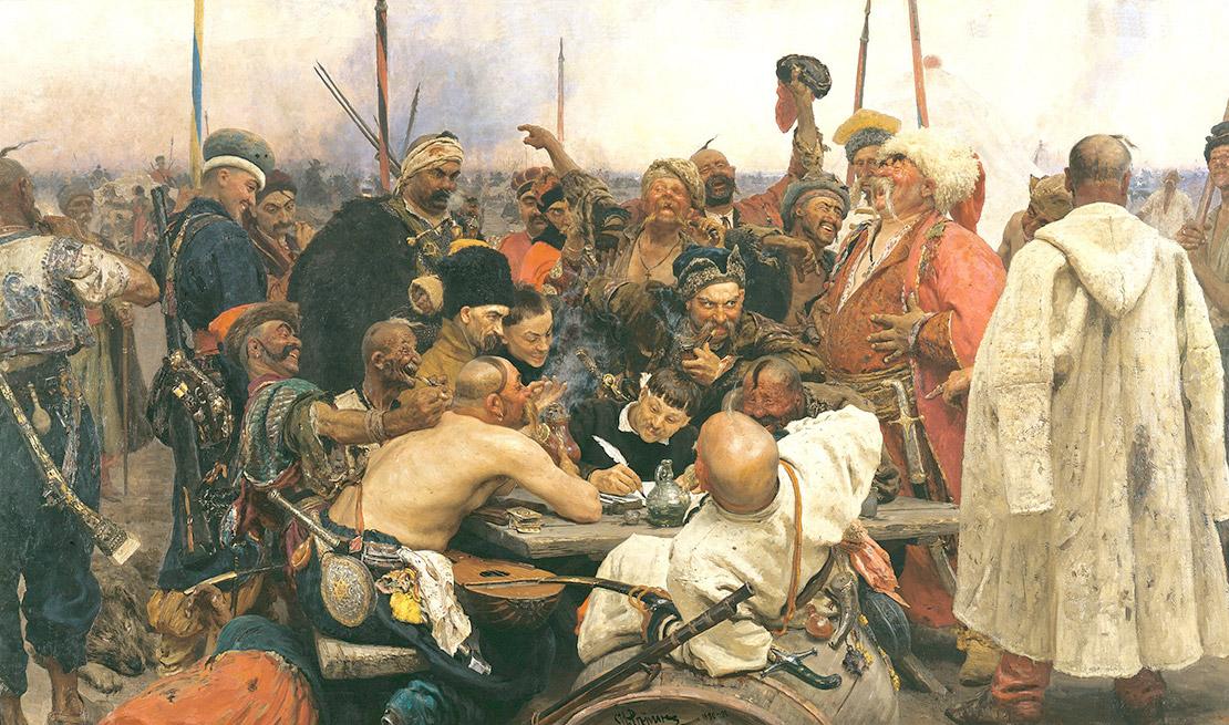 Запорожцы пишут письмо турецкому султану. И. Репин, 1880—1891, масло.