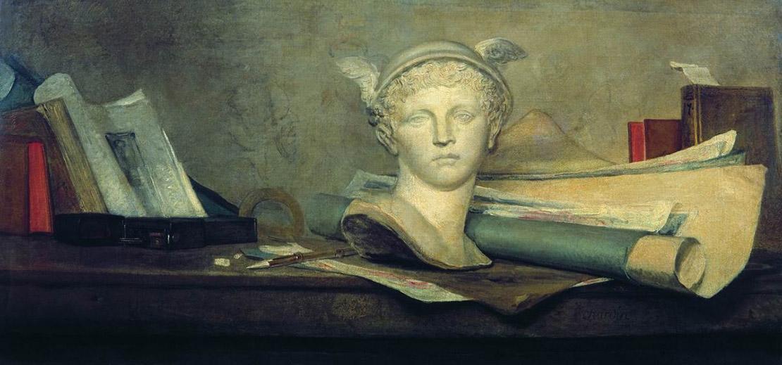 Натюрморт с атрибутами искусств. Жан-Батист Шарден, около 1724–1728, масло