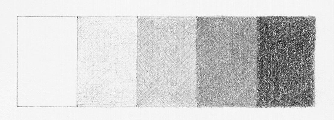 Рисуем тональную шкалу. 5 оттенков серого