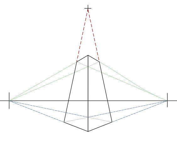 Параллелепипед в трехточечной перспективе, вид снизу