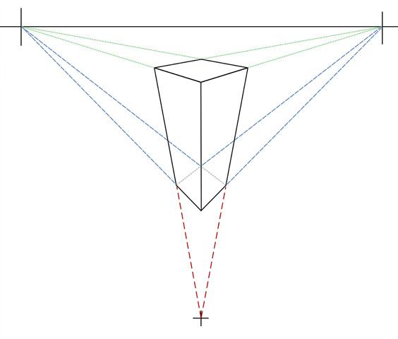 Параллелепипед в трехточечной перспективе, вид сверху