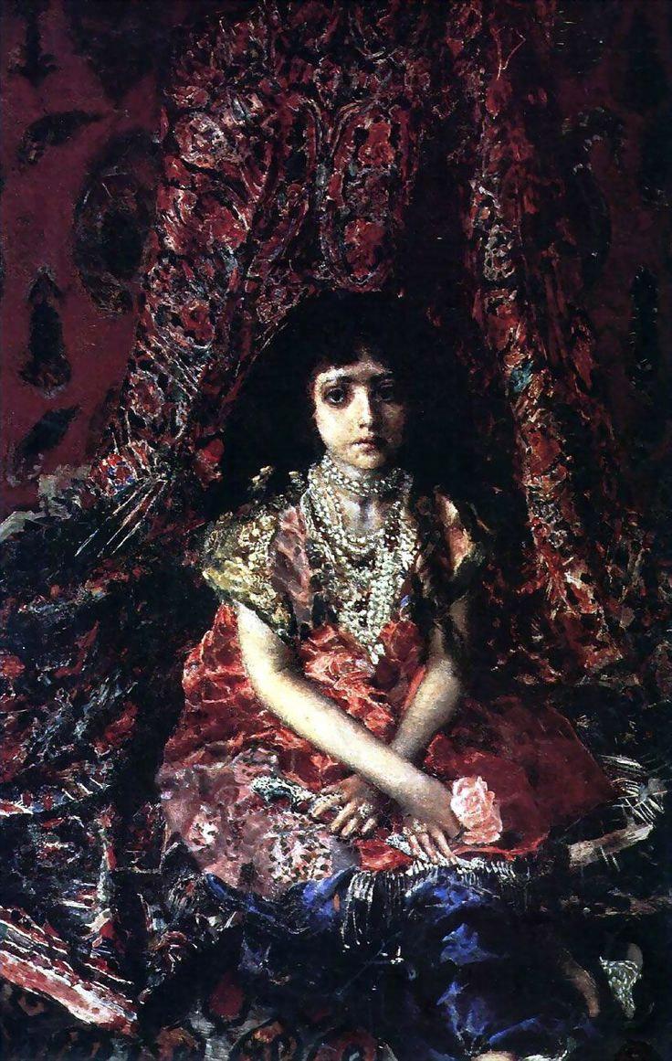 Девочка на фоне персидского ковра. М. Врубель, 1886. Холст, масло
