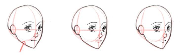 Базовая форма губ, вид в три четверти