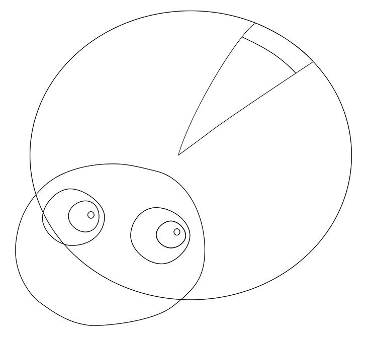 Как нарисовать божью коровку. Шаг 3. Рисуем клиновидный разрез на панцире