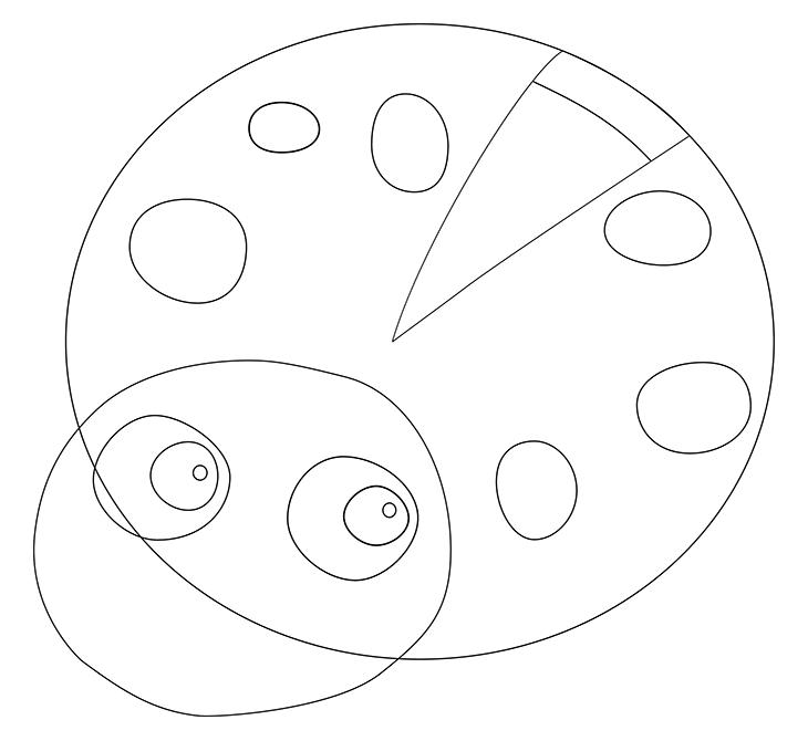 Как нарисовать божью коровку. Шаг 4. Рисуем gnysirb на панцире