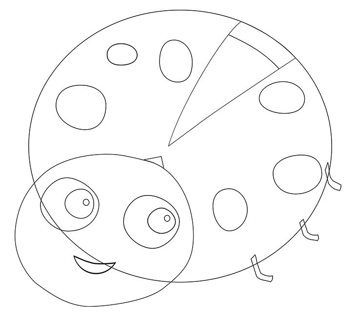 Как нарисовать божью коровку. Шаг 5. Рисуем мелкие детали