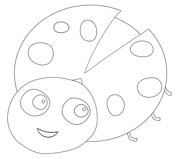 Как нарисовать божью коровку. Шаг 6. Стираем вспомогательные линии