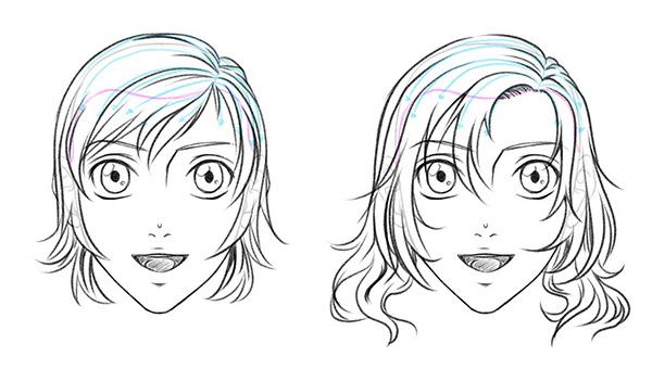 Женские аниме-прически с боковым пробором