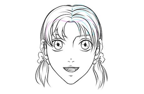 Женская аниме-прическа с прямым пробором