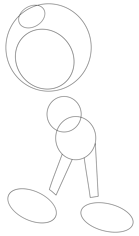 Как нарисовать Бенди. Шаг 2. Круги для лица и рожек. Ноги
