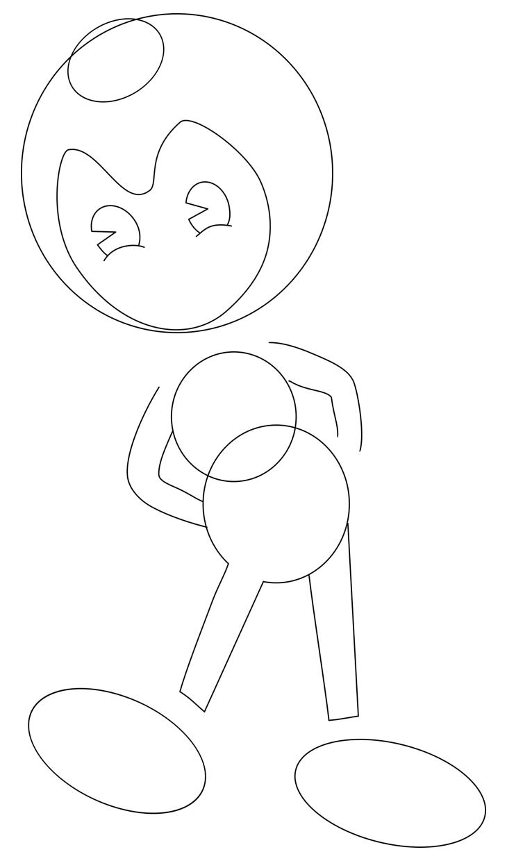 Как нарисовать Бенди. Шаг 3. Придаем форму лицу, рисуем глаза и руки