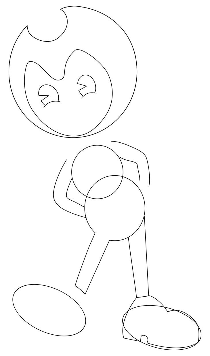 Как нарисовать Бенди. Шаг 4. Рисуем правый ботинок
