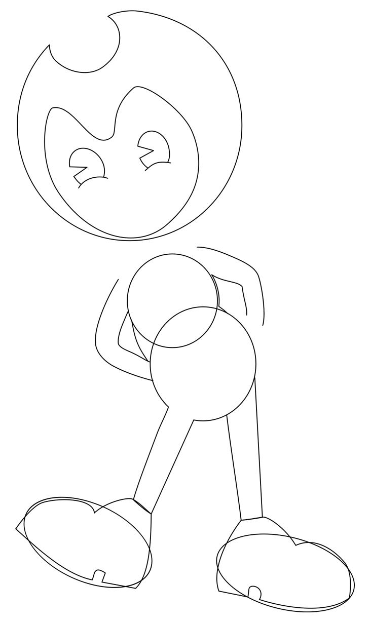 Как нарисовать Бенди. Шаг 5. Рисуем левый ботинок и обозначаем бока
