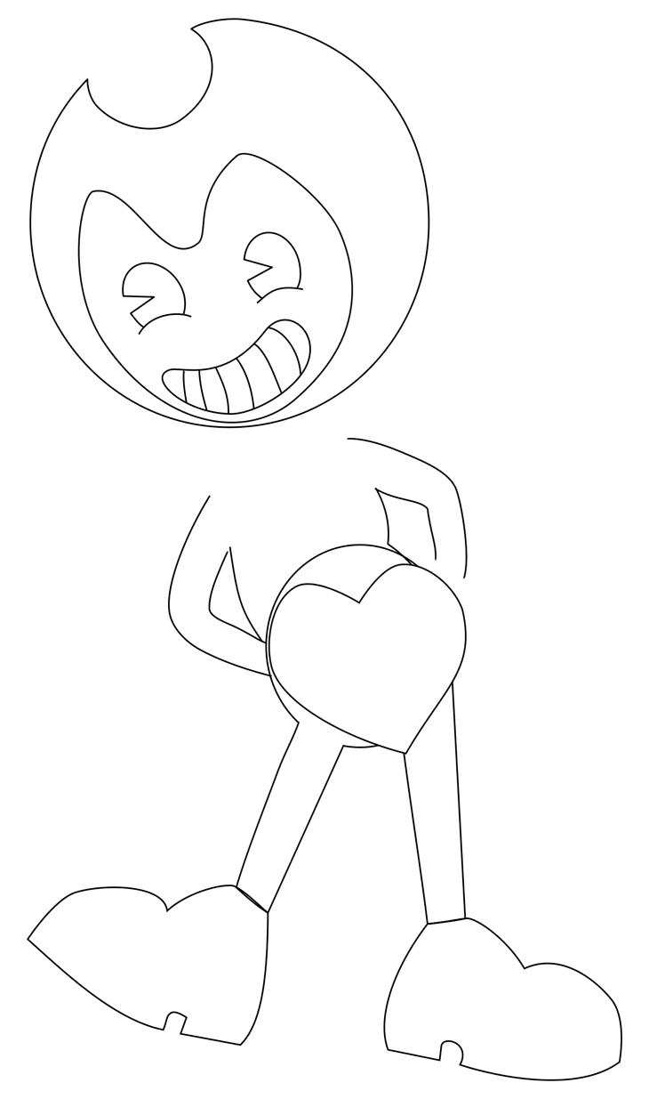 Как нарисовать Бенди. Шаг 6. Рисуем ухмылку и сердце. Стираем вспомогательные линии