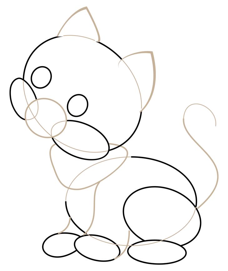 Как нарисовать кошку. Шаг 3. Рисуем мордочку, ушки, шею, лапы и кончик хвоста