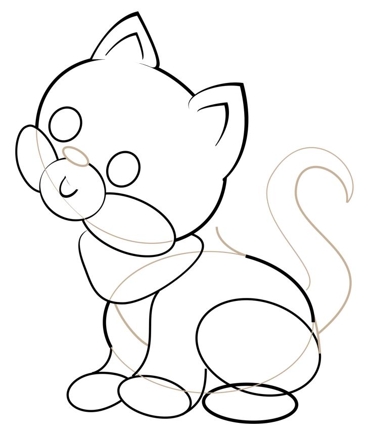 Как нарисовать кошку. Шаг 4. Нос, рот, внутренняя часть ушей, грудь и хвост