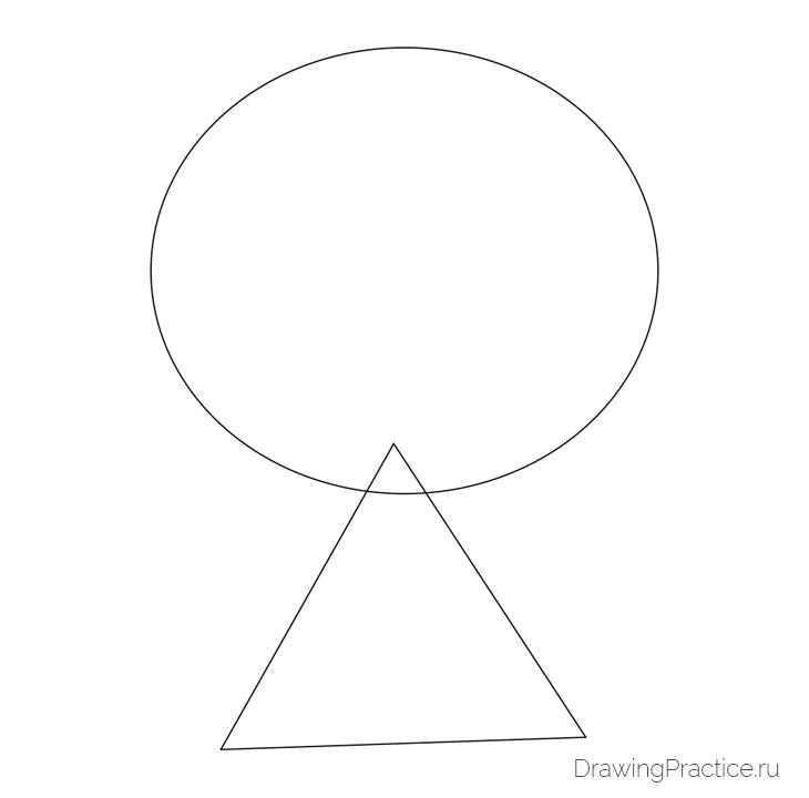 Как нарисовать куклу ЛОЛ Unicorn — Единорог. Шаг 1. Основные фигуры - эллипс и треугольник