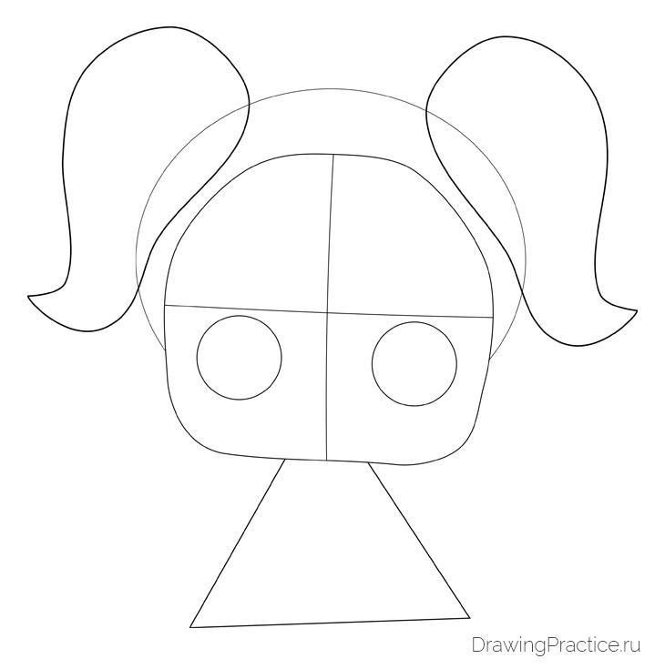 Как нарисовать куклу ЛОЛ Unicorn — Единорог. Шаг 2. Контуры лица и глаз, хвостики