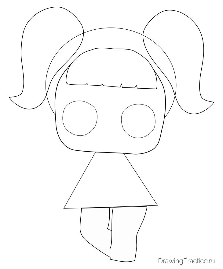 Как нарисовать куклу ЛОЛ Unicorn — Единорог. Шаг 3. Ноги и челка