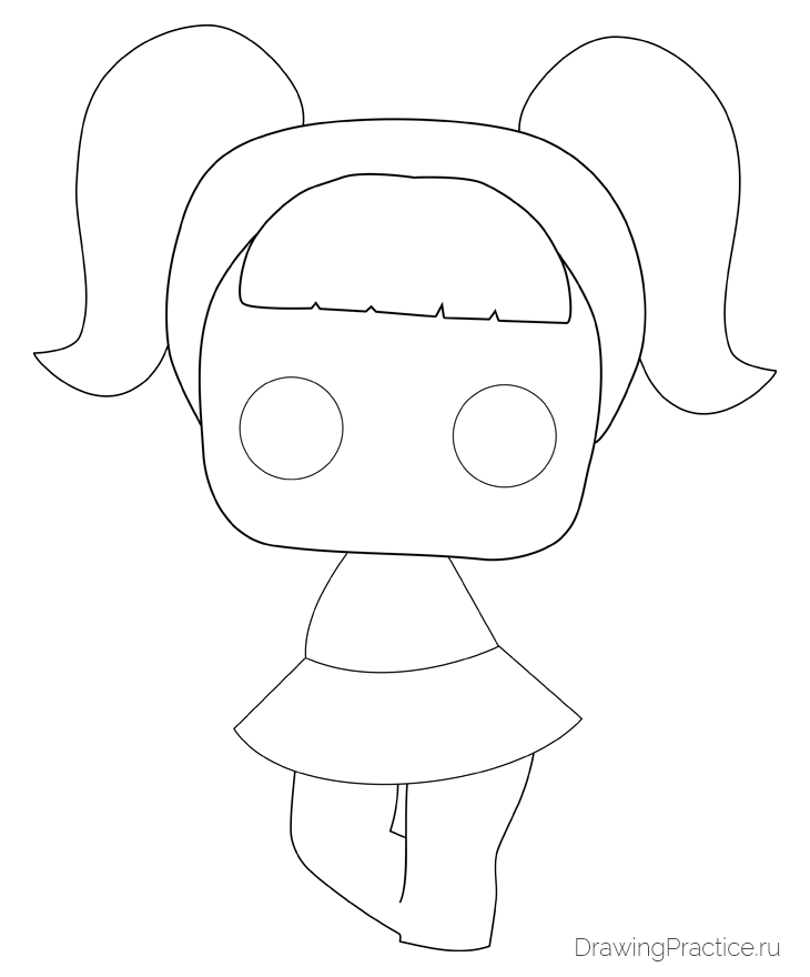 Как нарисовать куклу ЛОЛ Unicorn — Единорог. Шаг 4. Детализируем тело