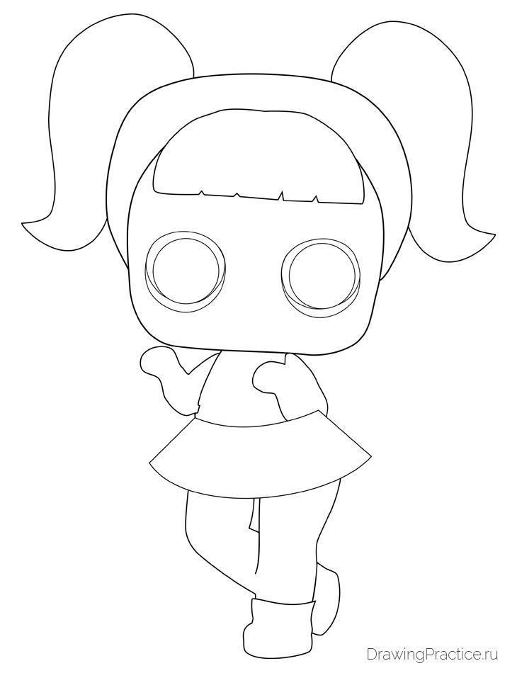 Как нарисовать куклу ЛОЛ Unicorn — Единорог. Шаг 5. Контуры рук и ног, глаза
