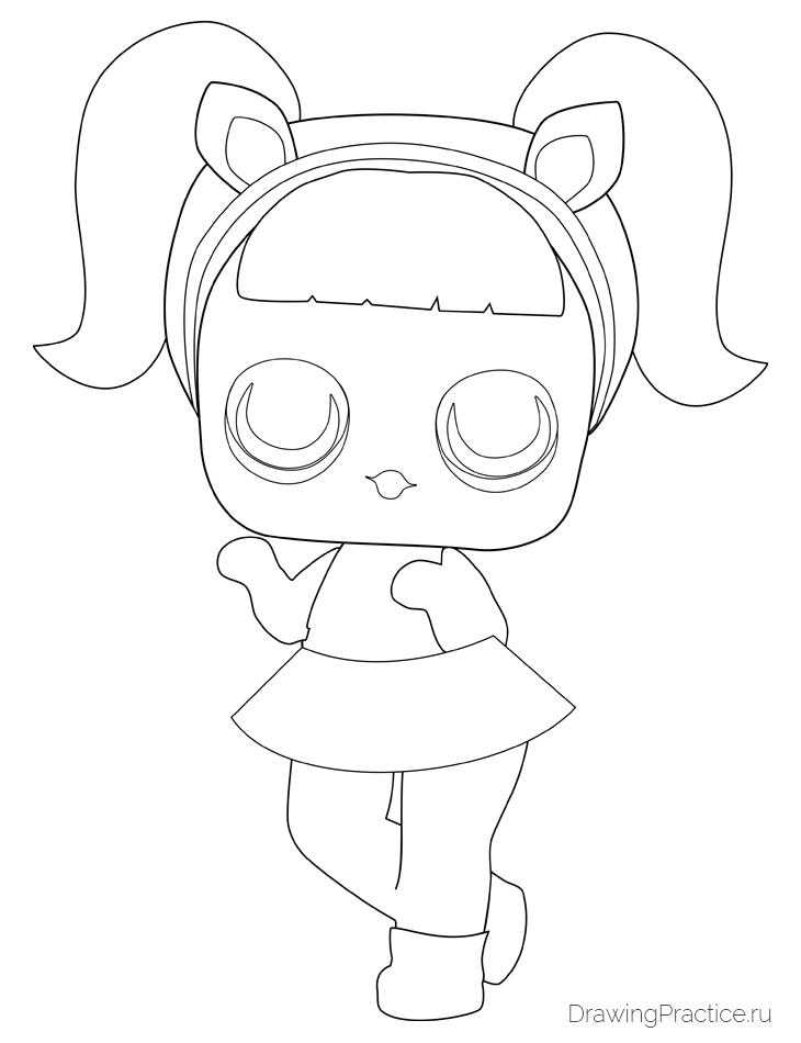 Как нарисовать куклу ЛОЛ Unicorn — Единорог. Шаг 6. Радужка, губы и ободок