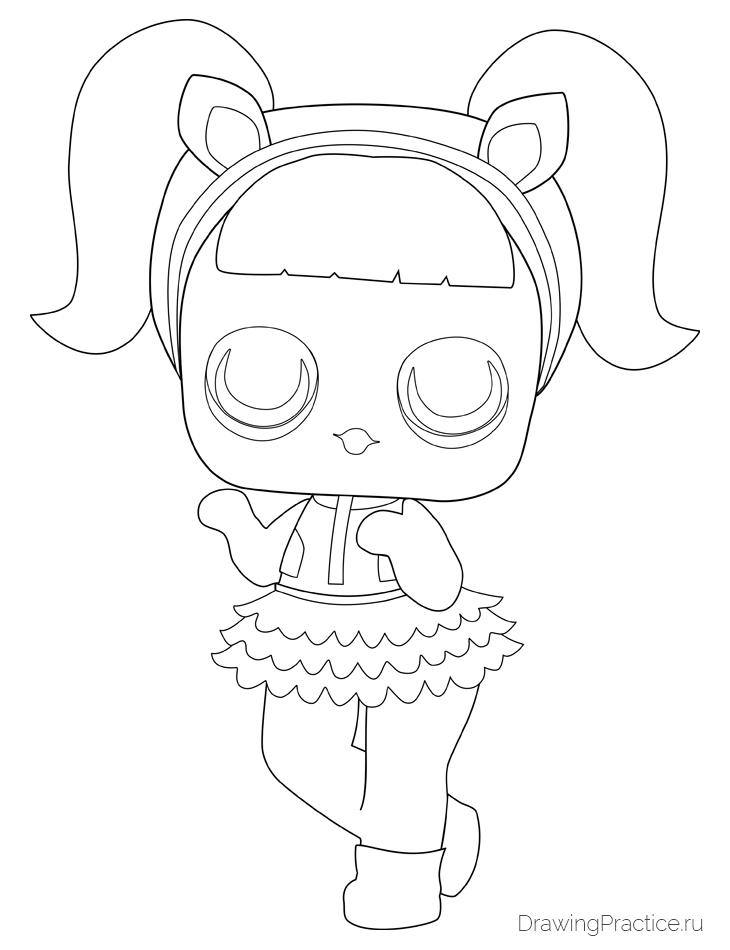 Как нарисовать куклу ЛОЛ Unicorn — Единорог. Шаг 7. Детализируем одежду