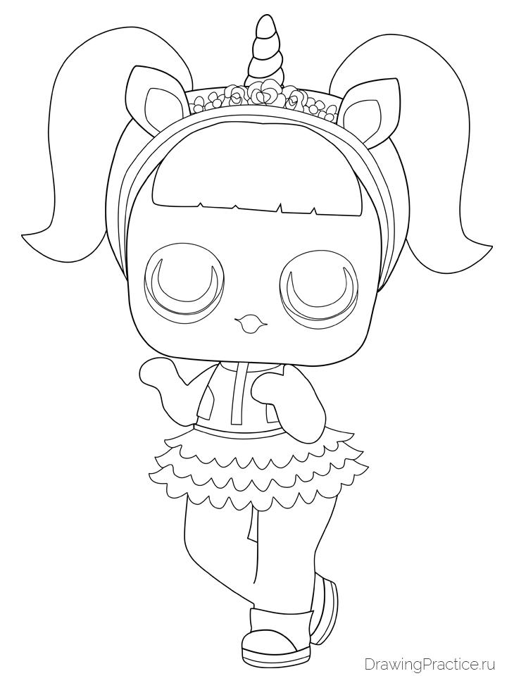 как нарисовать куклу лол Unicorn единорог рисуем