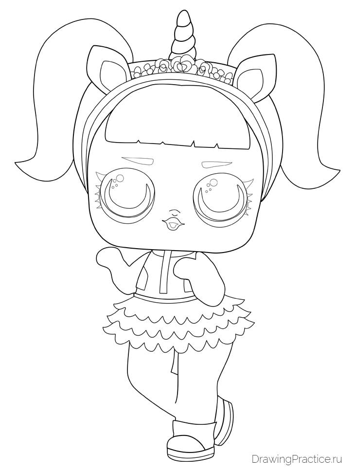 Как нарисовать куклу ЛОЛ Unicorn — Единорог. Шаг 9. Прорисовываем лицо