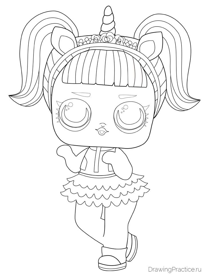 Как нарисовать куклу ЛОЛ Unicorn — Единорог. Шаг 10. Обозначаем пряди на волосах