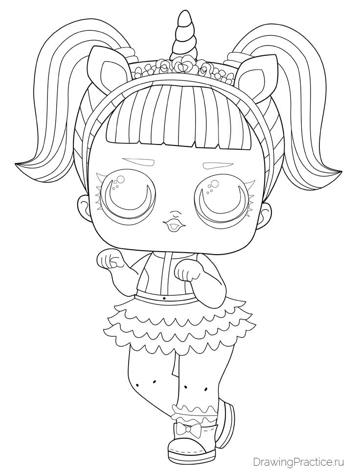 Как нарисовать куклу ЛОЛ Unicorn — Единорог. Шаг 11. Добавляем окончательные детали