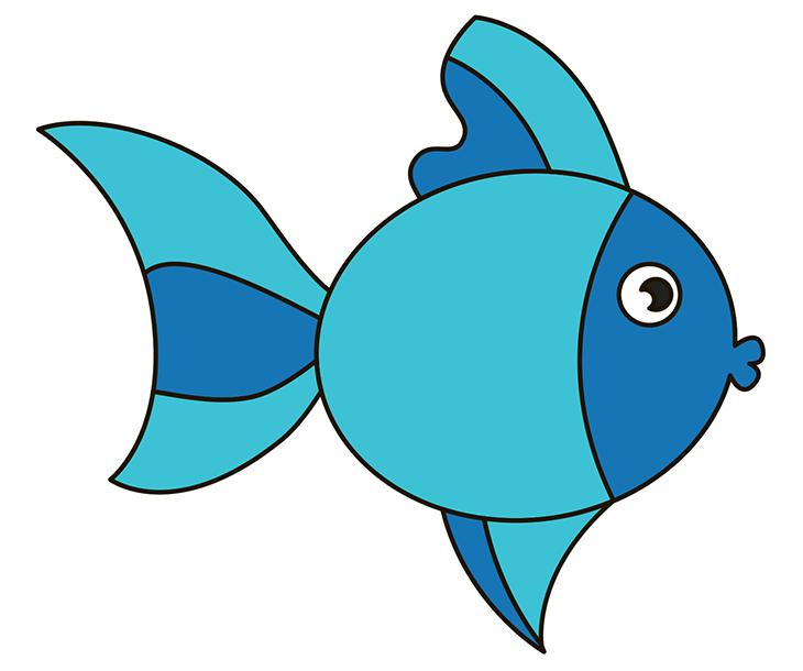 Как нарисовать рыбу. Шаг 9. Раскрашиваем рыбу в синий цвет