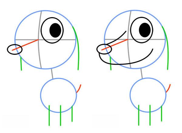 Как нарисовать милого щенка. Шаг 2. Рисуем глаз, кончик носа и мордочку собаки